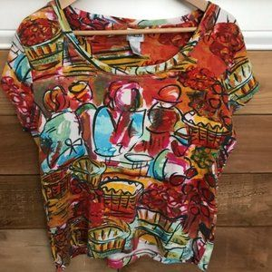 Chico's Fun Colorful Red Short Sleeve Shirt